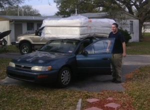 mattress on car roof