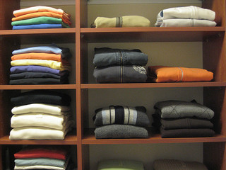 clothing in closet